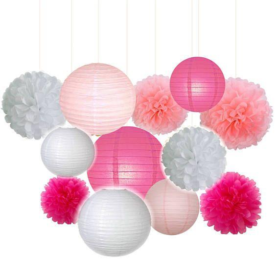 Satz von 12 gemischte Pink Fuchsia weißen Party Gewebe Pom