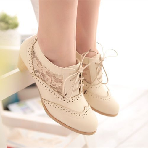 Here's another cute pair of lace oxfords.... free shipping high quality oxford shoes for women low heels pumps leather ladies casual shoes woman oxfords black beige brown US $33.40 - 36.40