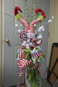 Elf Legs Christmas Tree Topper by DecoMeshObsession on Etsy