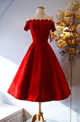 Vintage-50s-Red-Velvet-Off-Shoulder-Party-Dress-Tea-Length-Prom-Dresses-2015