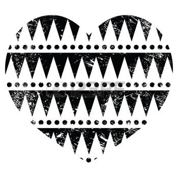 Ацтеков племенных шаблон сердца - ретро, гранж стиль photo