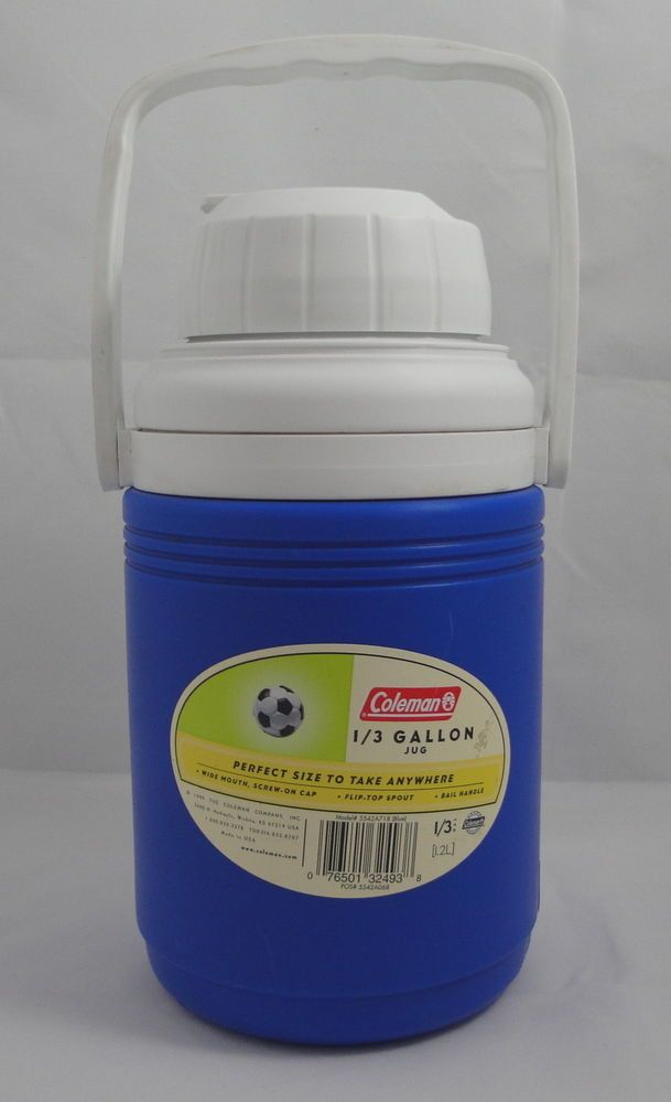 Blue Coleman 1/3 Gallon Jug Cooler Sports Camping Picnic Water Bottle Thermos #Coleman