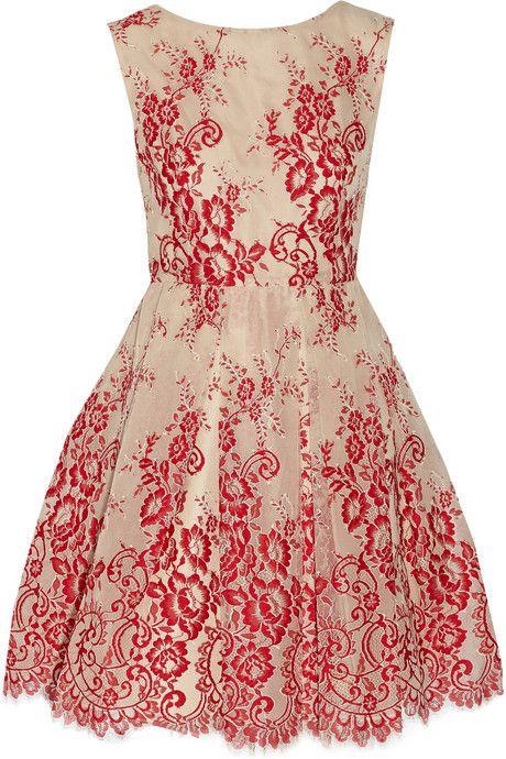 Alice + Olivia Fila tulle and lace mini dress