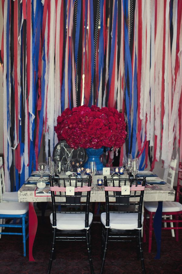 Red, white and blue wedding table designed by LaBohemeEvents.com photo by Focus Photography