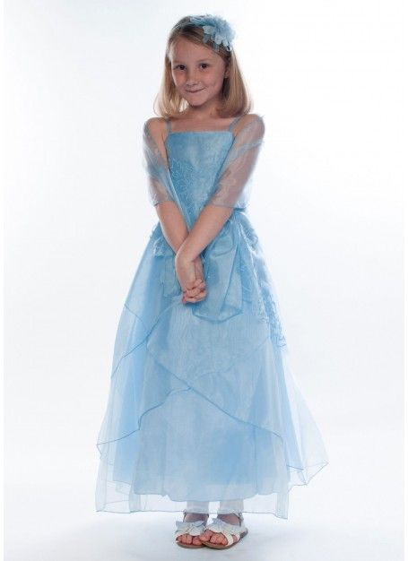 Pale blue ankle length bridesmaid dress for girls 6-14y