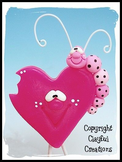 Becky's Polymer Clay Pink Heart w/Caterpillar by clayfulcreations