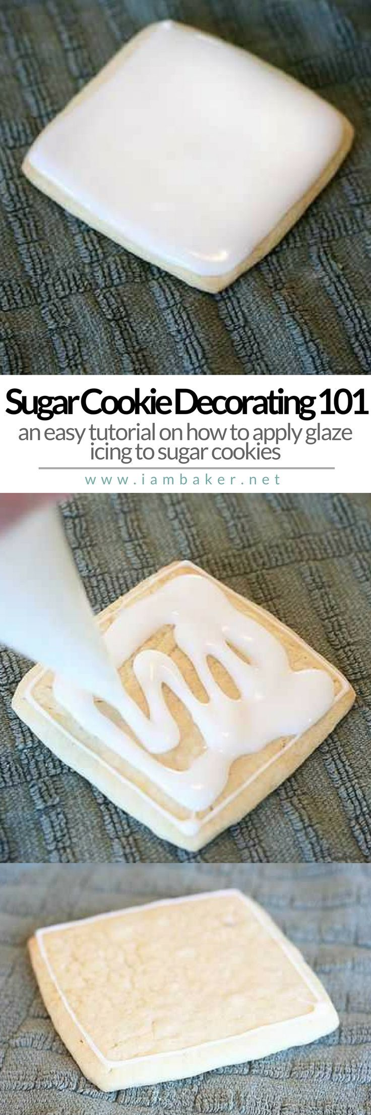 SUGAR COOKIE DECORATING 101 | If you're looking for easy sugar cookie decorating tutorials, you're in the right place. Learn how to apply your glaze icing to your sugar cookies by clicking the pin.  For more simple and easy dessert recipes to make, check us out at #iambaker. #foodlover #desserts #yummydesserts #recipeoftheday #cookies #sugarcookies