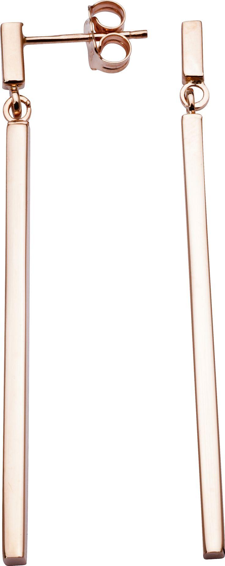 Varenr BGE90097.02. Lange, stilrene og stive øredobber i 9 kt 375 rosegull