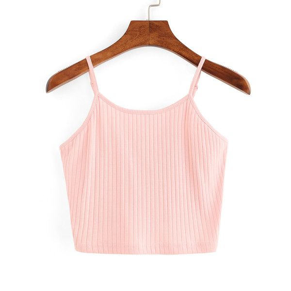 Ribbed Knit Crop Cami Top - Pink (990 DZD) ❤ liked on Polyvore featuring tops, pink, spaghetti strap tank tops, cropped cami, pink crop top, pink vest and pink camisole