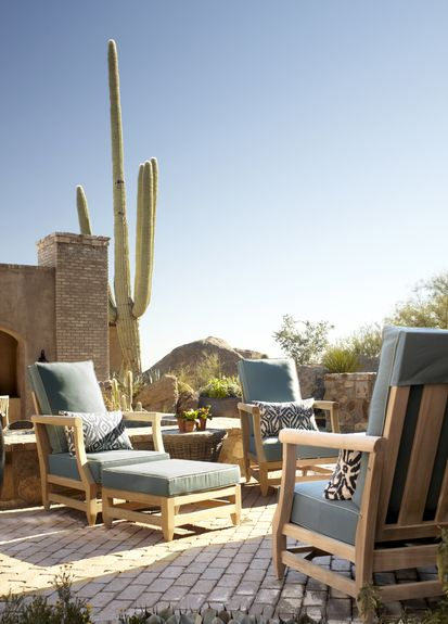 Wiseman and Gale - Interior Designer - Scottsdale - Rustic - Southwestern - Tuscan - Outdoor Room - Patio - Porch - Tiled Floor - Lounge - Upholstered Chair - Blue - Neutrals - Wodo Furniture - Cactus - Plants - Throw Pillows