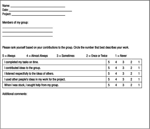 8 best Peer and Self Assessment images on Pinterest Classroom - group activity evaluation template