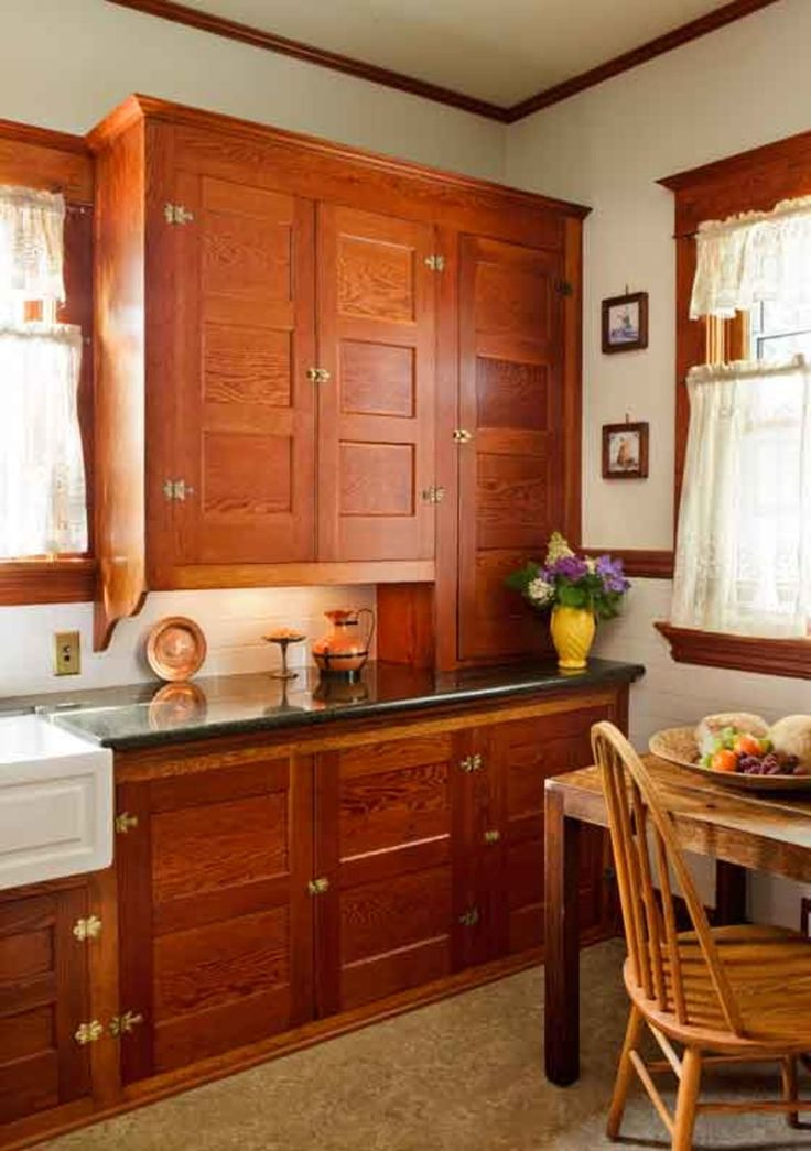 Restored Cabinets In A Renovated Craftsman Kitchen Old House Restoration Products Decorating