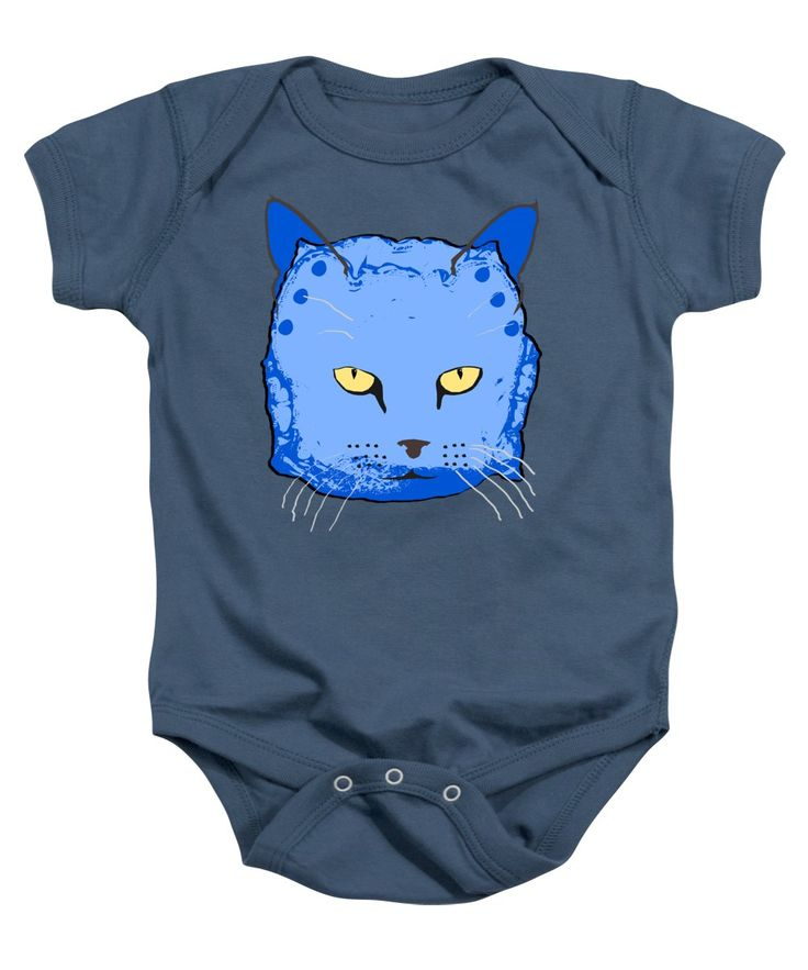 Cat Baby Onesie featuring the mixed media Cloth Diaper Cat In Blue by Sverre Andreas Fekjan