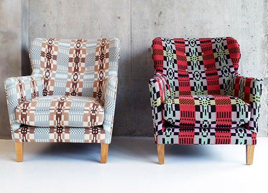 Welsh tapestry used to transform old chairs. To sit on one of these in front of a roaring fire and a cup of tea...
