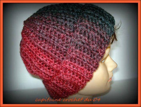 Bonnet homme bonnet femme bonnet en laine tuque grise et bordeaux bonnet  crochet en laine bonnet côtelée en laine fait main  modèle unique b4a928dc018