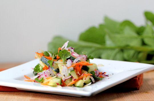 Raw Radish, Cucumber, and Carrot Salad w/ Cilantro Vinaigrette.