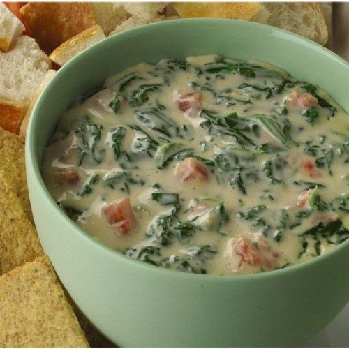 This creamy spinach dip recipe gets its kick from Ro*Tel tomatoes and its smooth, creamy texture from Velveeta and cream cheese. Velveeta® and Philadelphia® are registered trademarks of Kraft Foods, Inc.Ro*Tel® is a registered trademark of ConAgra Foods RDM, Inc.