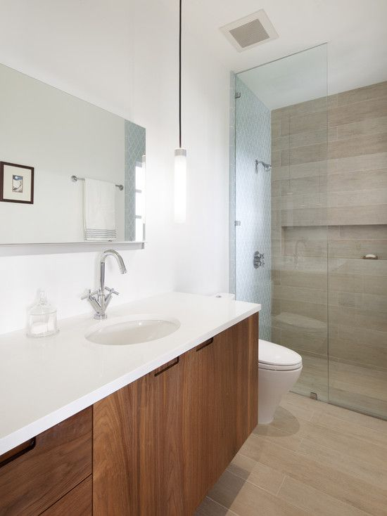 yes to the color of the vanity; rather see it returning in the shower ( ·  Porcelain Wood TileWood ... - 156 Best Bathroom Redesign Images On Pinterest