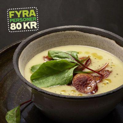 Lotta Lundgren - Jordärtskockssoppa med kryddig korv