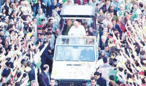 Pope John Paul II in Damascus. May 7, 2001.