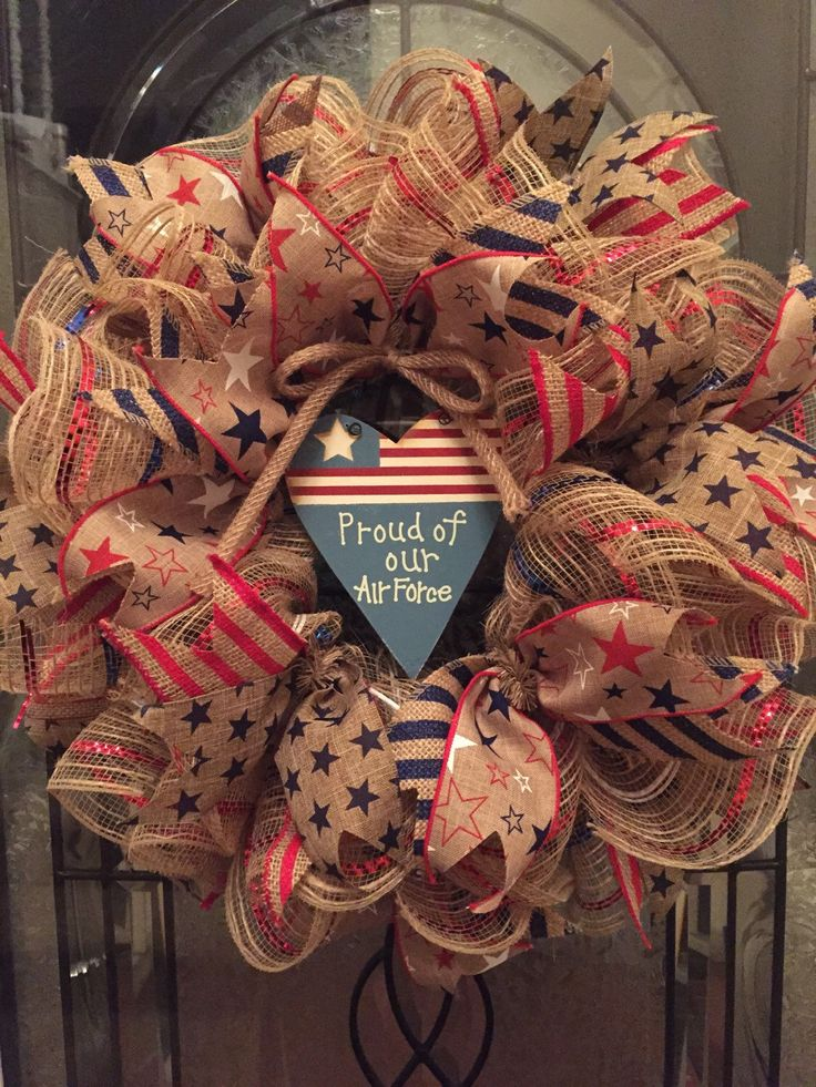 Patriotic Wreath Air Force Wreath Americana Wreath Fourth Of July Wreath Memorial Day Wreath