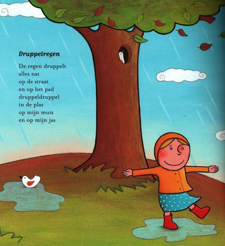 Versje 'Druppelregen' uit het versjesboek 'Seizoentjes'. Auteur Elly van der Linden; Illustrator Debbie Lavreys; Uitgeverij Clavis