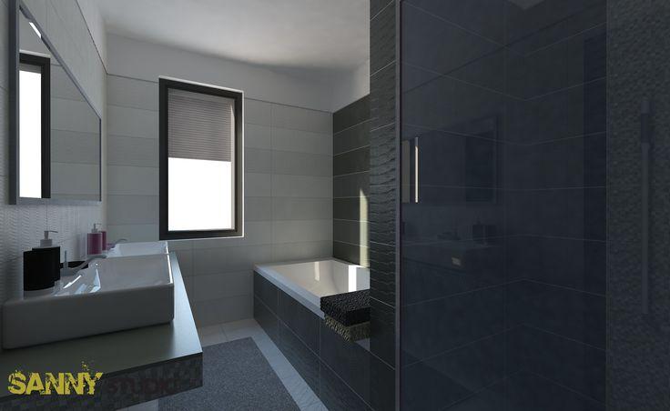 Návrh kúpeľne do rodinného domu, projekt Mladé Čuňovo.