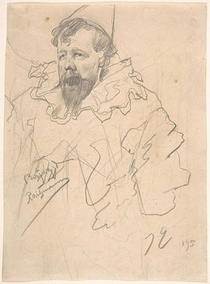 """James Ensor self-portrait drawing, 1895. From """"100 Self-Portrait Drawings from 1484 to Today"""""""