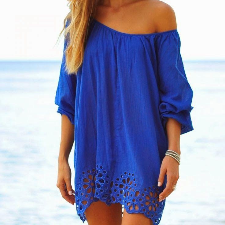 Vestidos De Baño Verano Azul:Shoulder Cover Up for Blue Dress