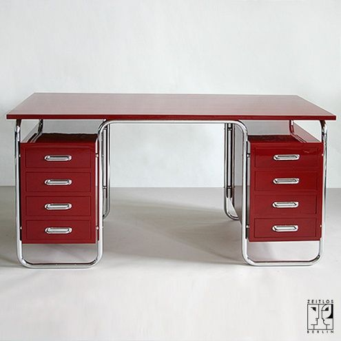 Tubular steel writing desk in Bauhaus design