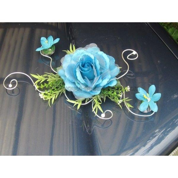 décorrations fait avec fil Aluminium pour table de mariage | Décoration voiture mariage turquoise argent