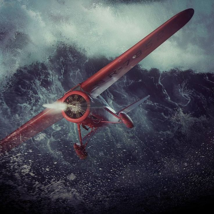 My representation of Amelia Earharts transatlantic solo flight in May 1932 #art #digitalart #photomanipulation