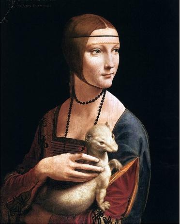 레오나르도 다빈치- CECILIA GALLRANI  레오나르도 다 빈치의 <담비를 안고 있는 여인>은 밀라노의 공작 루도비코 스포르차의 연인이었던 체칠리아 갈레라니의 초상화로 알려져 있다. 이 그림이 제작된 1490년경은 레오나르도가 밀라노의 궁정화가로 일하면서 자신의 대표작인 <최후의 만찬>을 제작하고 명성을 얻었던 시기였다.   이 작품의 모델인 체칠리아 갈레라니는 화면 안에서 흰 담비를 품에 안고 있다. 담비는 전통적으로 순수함과 청빈함의 상징이므로 결국 <담비를 안고 있는 여인>에서 담비는 체칠리아의 분신이며, 그녀의 순결성을 드러내고 역할을 한다. 한편, 흰 담비는 체칠리아의 연인인 밀라노 공작 루도비코를 의미하기도 한다. 루도비코가 1488년 나폴리의 국왕으로부터 수여 받은 기사 작위의 상징이 흰 담비였기 때문이다. 루도비코의 상징인 담비를 쓰다듬고 있는 체칠리아의 모습이 담긴 이 그림은 두 사람의 연인 관계를 기념하는 공식적인 증거라고 할 수 있다.