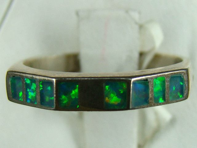 SILVER AND LAB OPAL INLAY RING SIZE 6 3/4 (OA1014)