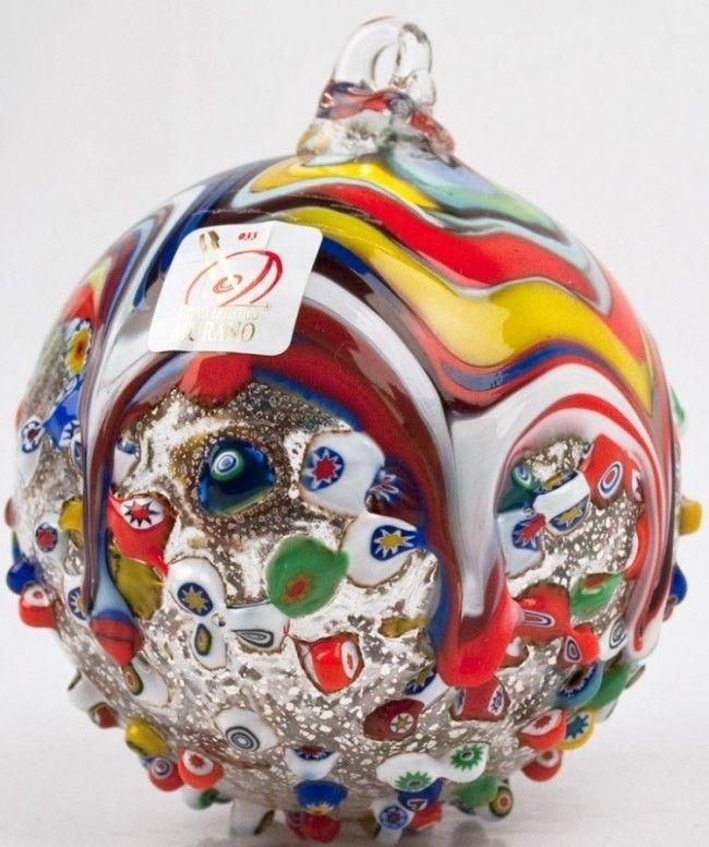 Murano glass christmas ornament with murrina fantasia - Murano glass ornaments italy ...