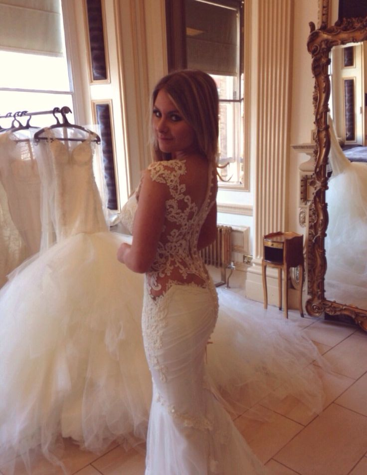 Dream wedding dress tight fitted long train beautiful for Beautiful fitted wedding dresses