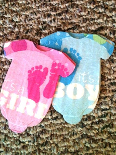 Set of 30 Baby shower onesie napkins or banner decoration Its a Boy or Its a Girl. $20.00, via Etsy.