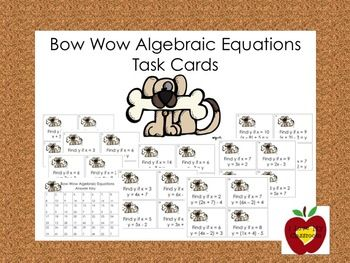 Algebraic Equations Task Cards (Dog)