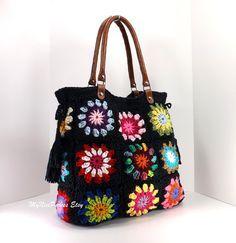 Crochet granny squares handbag with tassels and genuine leather handles /BLACK/, Crochet Bag, Tote Bag, Gift Idea