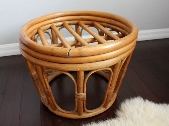 Vintage bohemian bentwood bamboo and rattan cocktail / coffee / side table / plant stand. Lightweight, sturdy and versatile with a lovely, natural - boho flair. This table is in great vintage condition, with a few scuffs and wear to the bamboo. Table DOES NOT come with the glass top, table base only.  Measures: 14.5 H x 20 D
