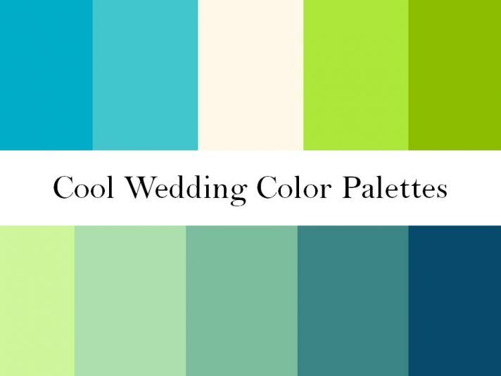 Cool wedding color palettes of green, blue and teal