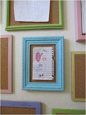 Frames filled with corkboards for kids artwork
