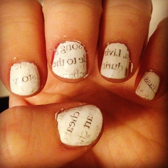 2014 Day 30: Inspired by a tutorial. Newspaper nails