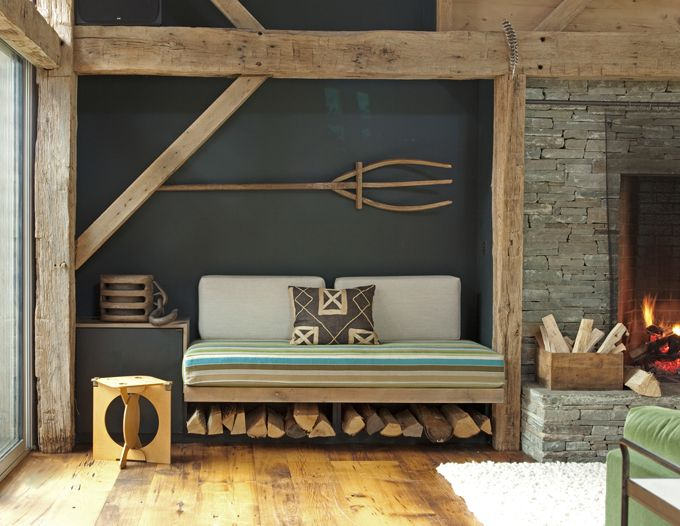 window seat by the fireplace...wood, shape, style...nice...