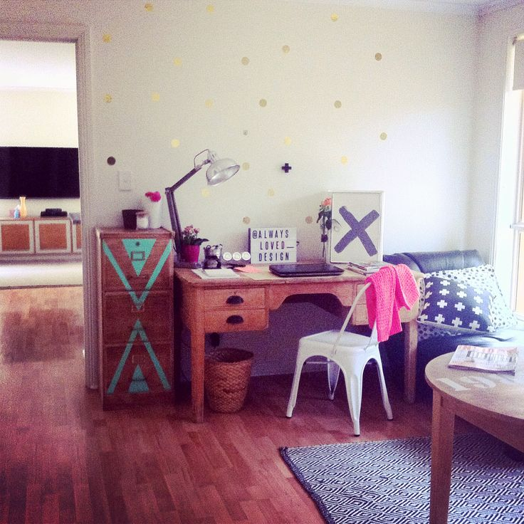 Work space designed and furniture revamped by @alwaysloved_designs
