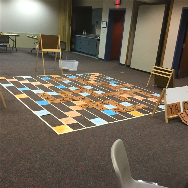 Oversized game of Scrabble to play on the floor.