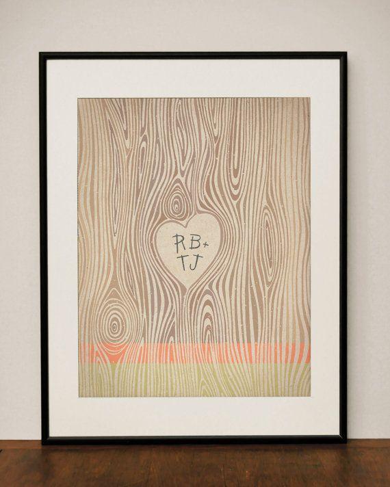 Customizable Wood Grain Heart 11x14 Art Print by ProjectType, $23.00