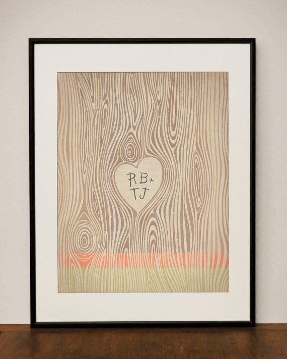 Customizable Wood Grain Heart 11x14 Art Print by ProjectType, $23.00