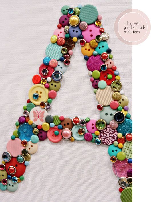 Adorable button monogram for nursery or maybe even a tween room.  Could be as glamorous or casual as your button box