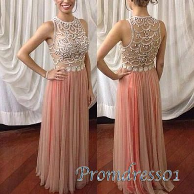 Beaded prom dresses long, pink see-through prom dress for teens, 2016 handmade round neck tulle evening dress #coniefox #2016prom